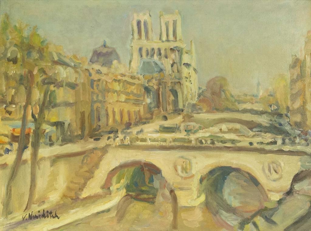 119- Vladimir NAIDITSCH. Paris Notre-Dame. Huile sur toile signée en bas à gauche. 46x61cm. Adjugé 520€