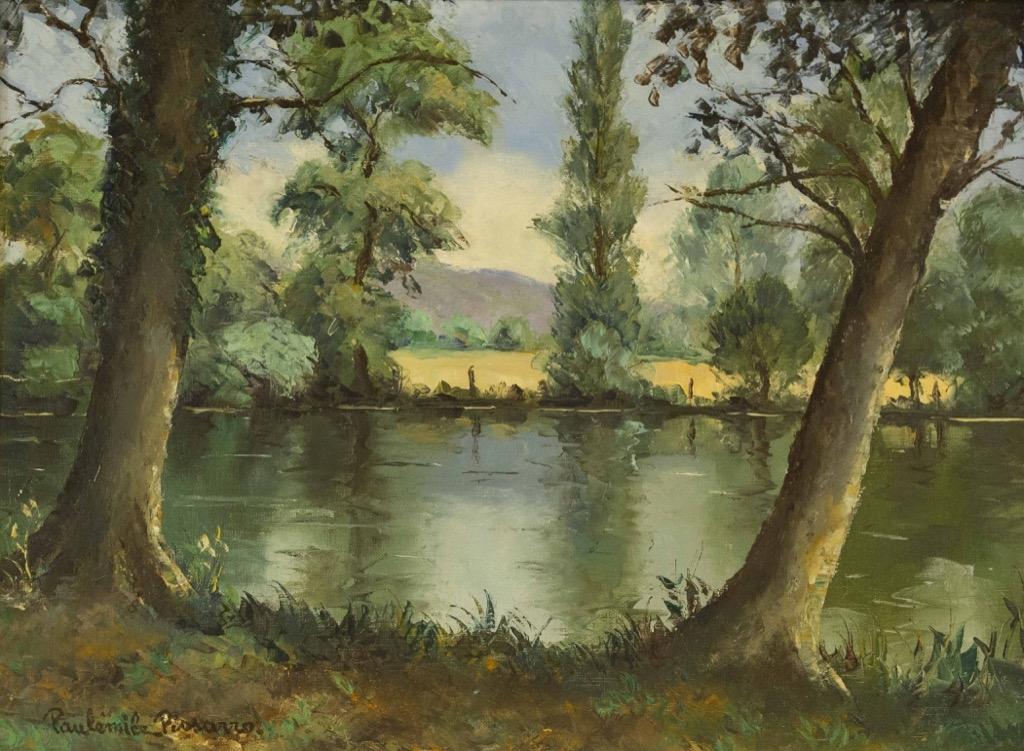 126- Paul Emile PISSARO. Bord de l'Orne. Huile sur toile signée en bas à gauche. 46x61cm. Adjugé 2200€