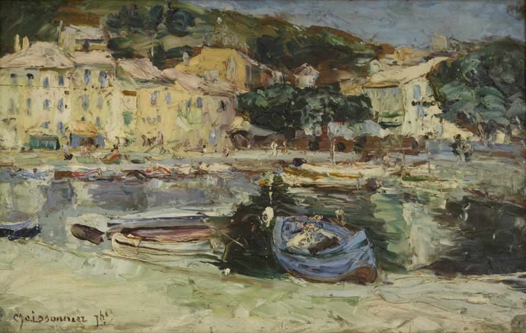 128- Joseph MEISSONNIER. Le port de Cassis. Huile sur panneau signée en bas à gauche. 27x40,5cm. Adjugé  500€