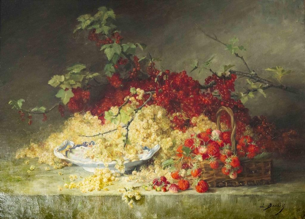 161 Leon Alfred BENOIT (1860-1915). Nature morte aux fraises et groseilles. Huile sur toile signée en bas à droite. 61x81cm. Adjugé 550€