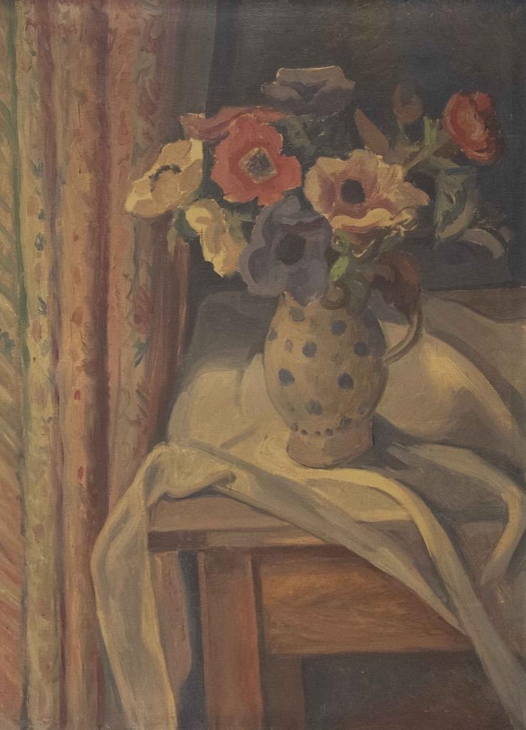 181 Maurice MENDJISKY (1889-1951). Vase de fleurs posés sur un entablement. Huile sur toile signée n bas à droite. 68x52cm. Adjugé 1350€