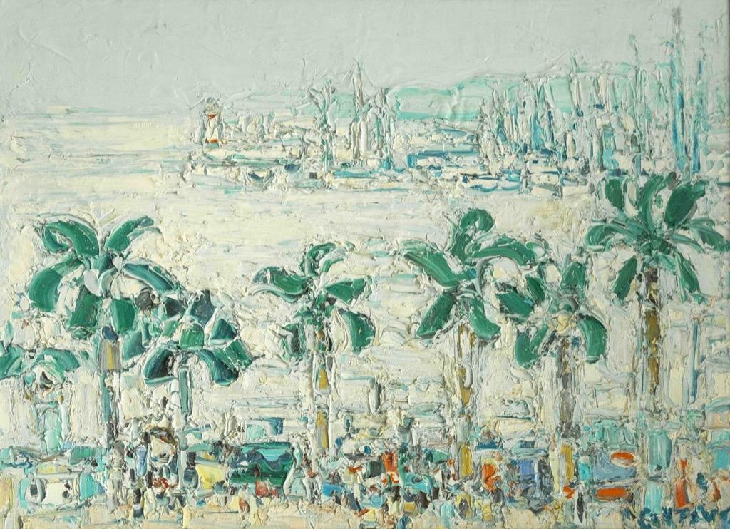 201 André COTTAVOZ (1922-2012). La croisette le matin. Huile sur toile signée en bas à gauche. 60x80cm. Adjugé 3000€