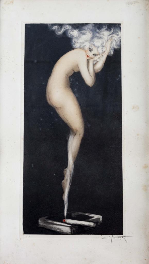 206 Louis ICART (1888-1950). Illusion. Gravure eau-forte et pointe sèche, signée au crayon et n°164. Cuvette 47,5x21,5cm. Adjugé 900€