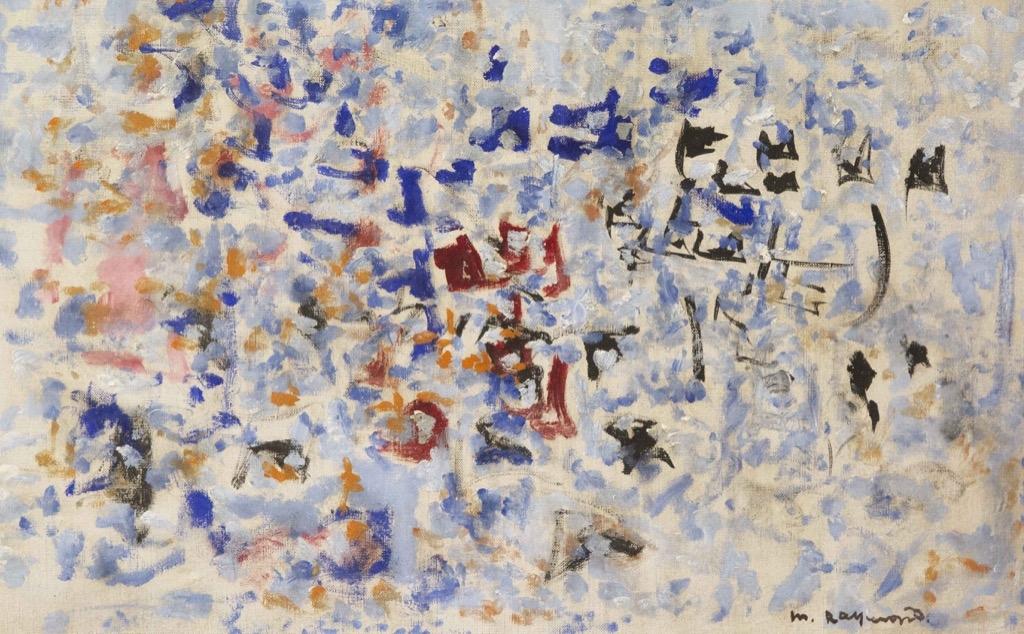210 Marie RAYMOND (1908-1988). Composition. Huile sur toile signée en bas à droite. 38x60,5cm. Adjugé 850€