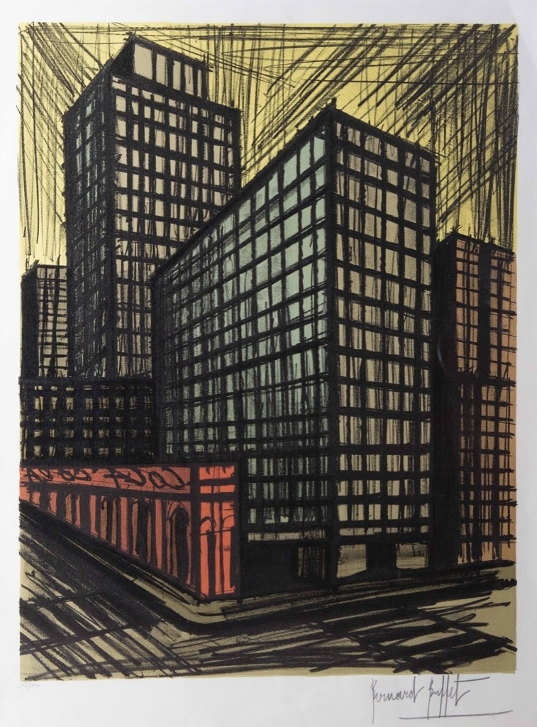 227 Bernard BUFFET (1928-1999). New-York. Lithographie en couleur signée dans la planche au crayon numérotée 112-150. 78x54cm. Adjugé 1000€