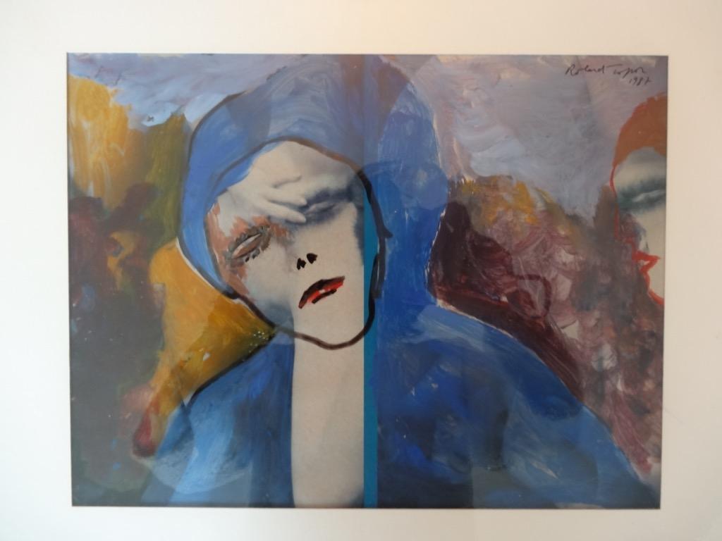 233-1 Roland TOPOR (1938-1997).Acrylique sur feuille de journaus de la série Frou Frou. A vue 20x25,5cm. Adjugé 600€