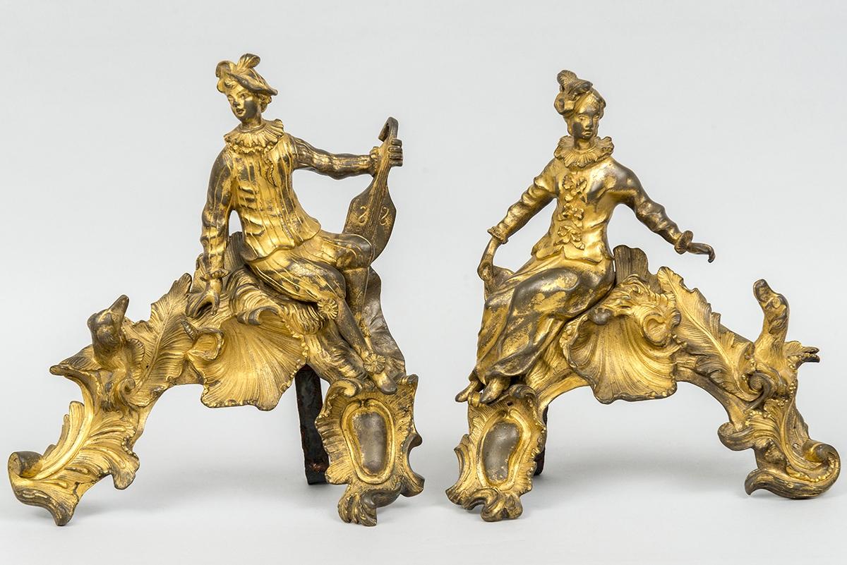 110 - Paire de chenets en bronze, marque de Lancret. Adjugé 950€