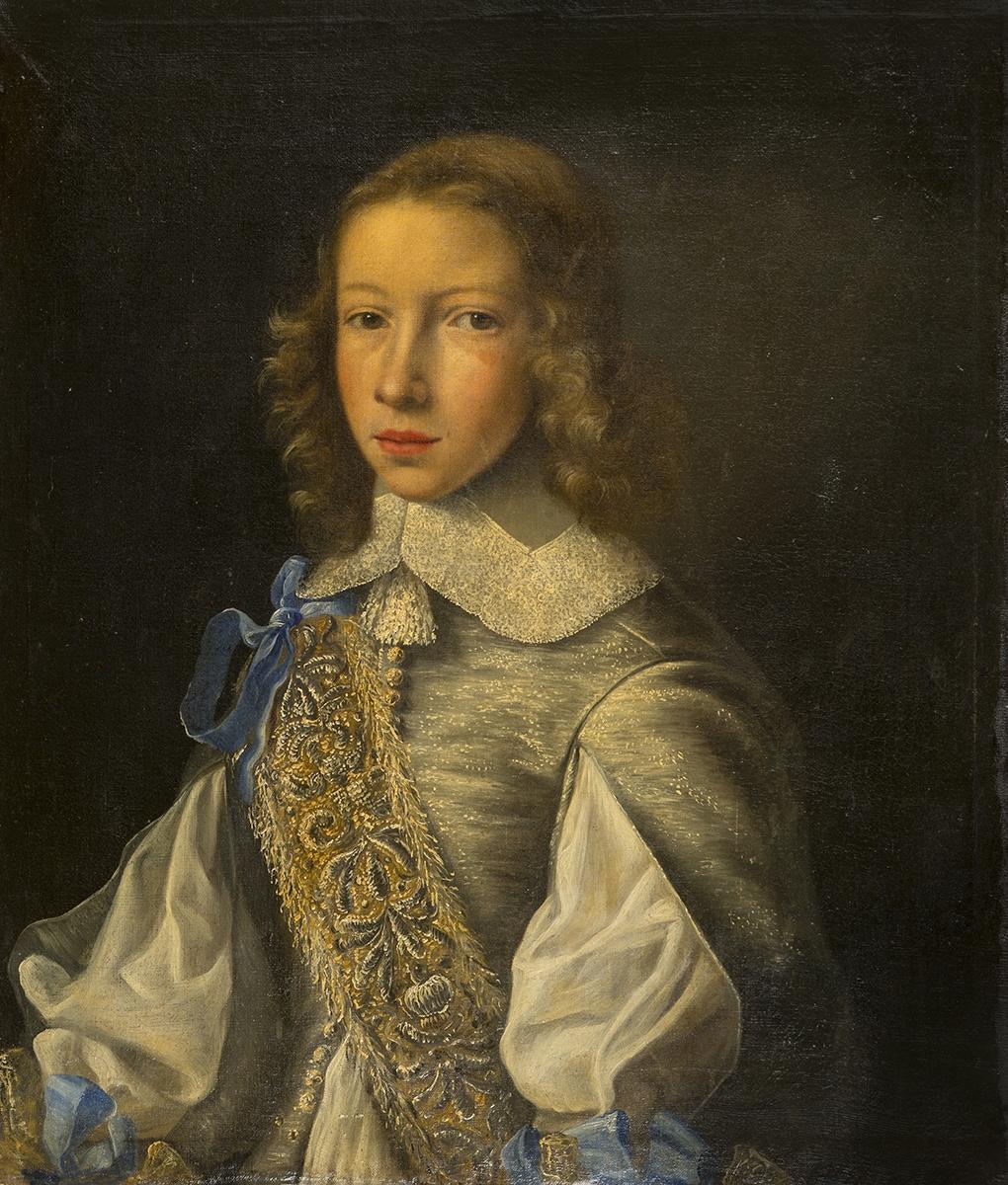 132 - Ecole flamande vers 1660, suiveur de Jacob Van Oost. Portrait de jeune homme aux rubans bleus. Huile sur toile. 62x53cm. Adjugé 2800€
