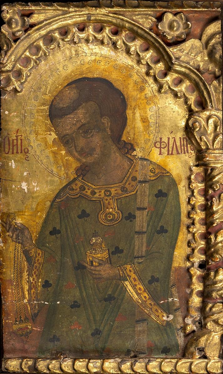 141 - Ecole créto-vénitienne du début XVIIème, rare icône de St Philippe Néri. Tempera et or sur bois. 43X25cm. Adjugé 1 700€