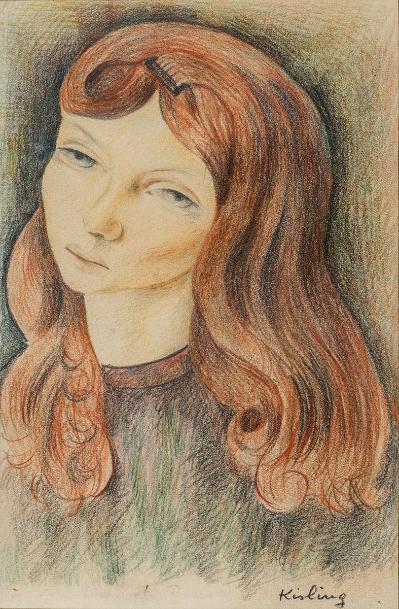 176 - Moïse KISLING. Portrait de jeune fille rousse. Dessin aux crayons. Adjugé 5 600€