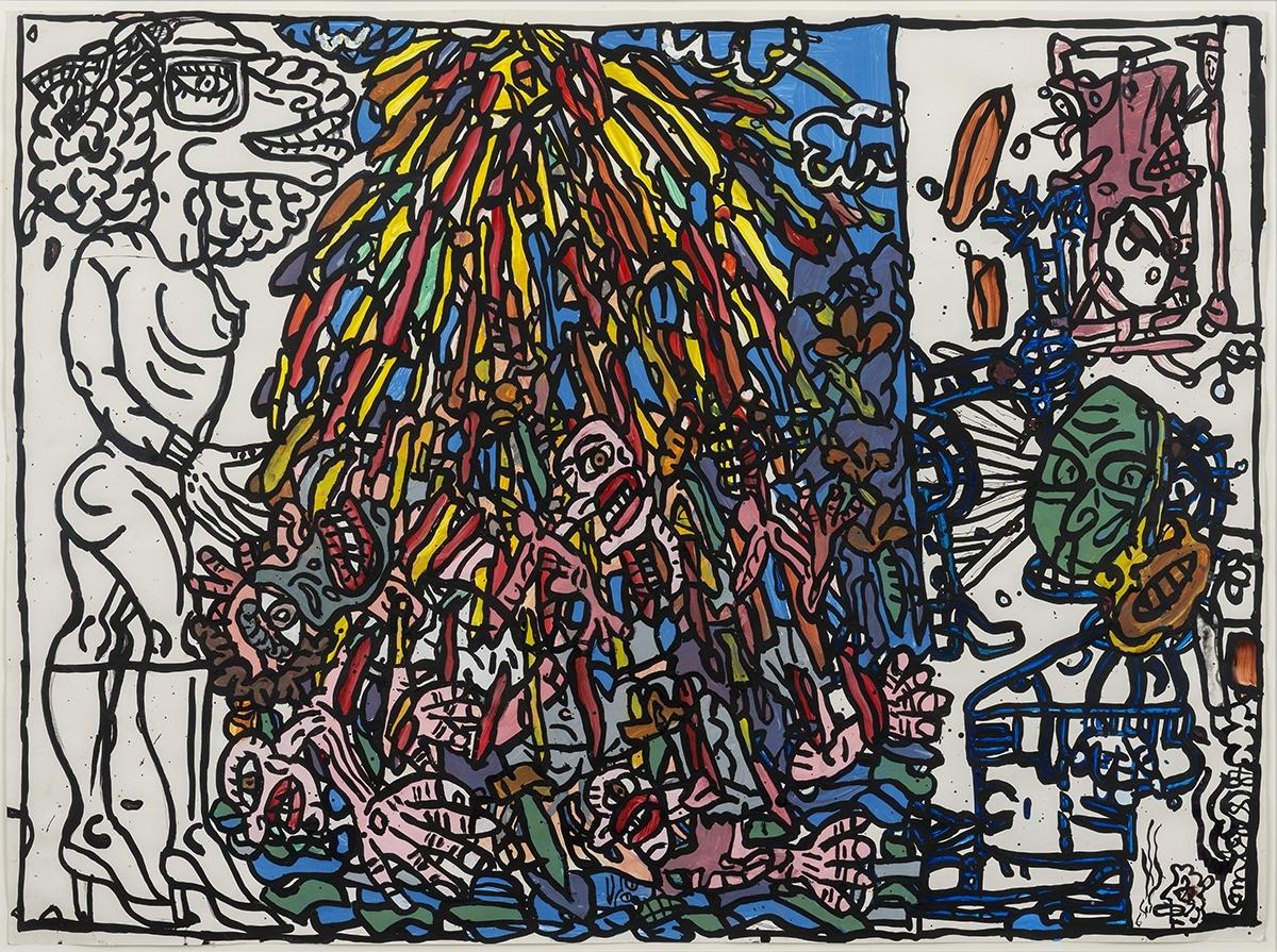 190 - Robert COMBAS. Personnages. Gouache sur papier signée et datée 87. 58x80cm. Adjugé 10 000€