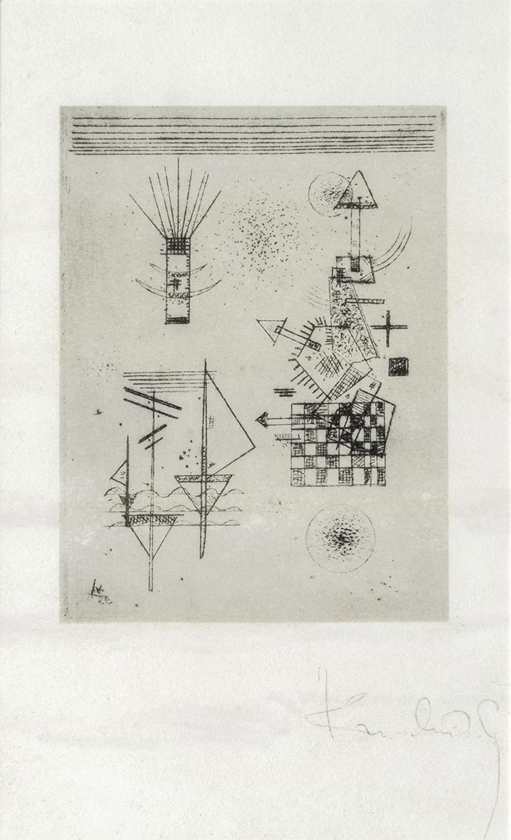 199 - Wassily KANDINSKY. Carte de voeux de la Fondation Maeght 1966. Gravure signée. 18x24cm. Adjugé 500€