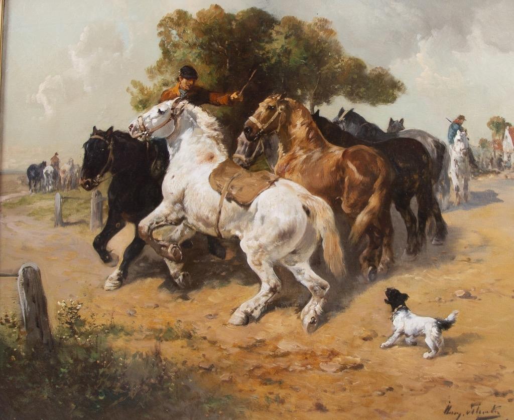 @1024-137 - Henry SCHOUTTEN. Cavalier maitrisant ses chevaux. Huile sur toile signée en bas à droite.54x65cm. Adjugé 1300€