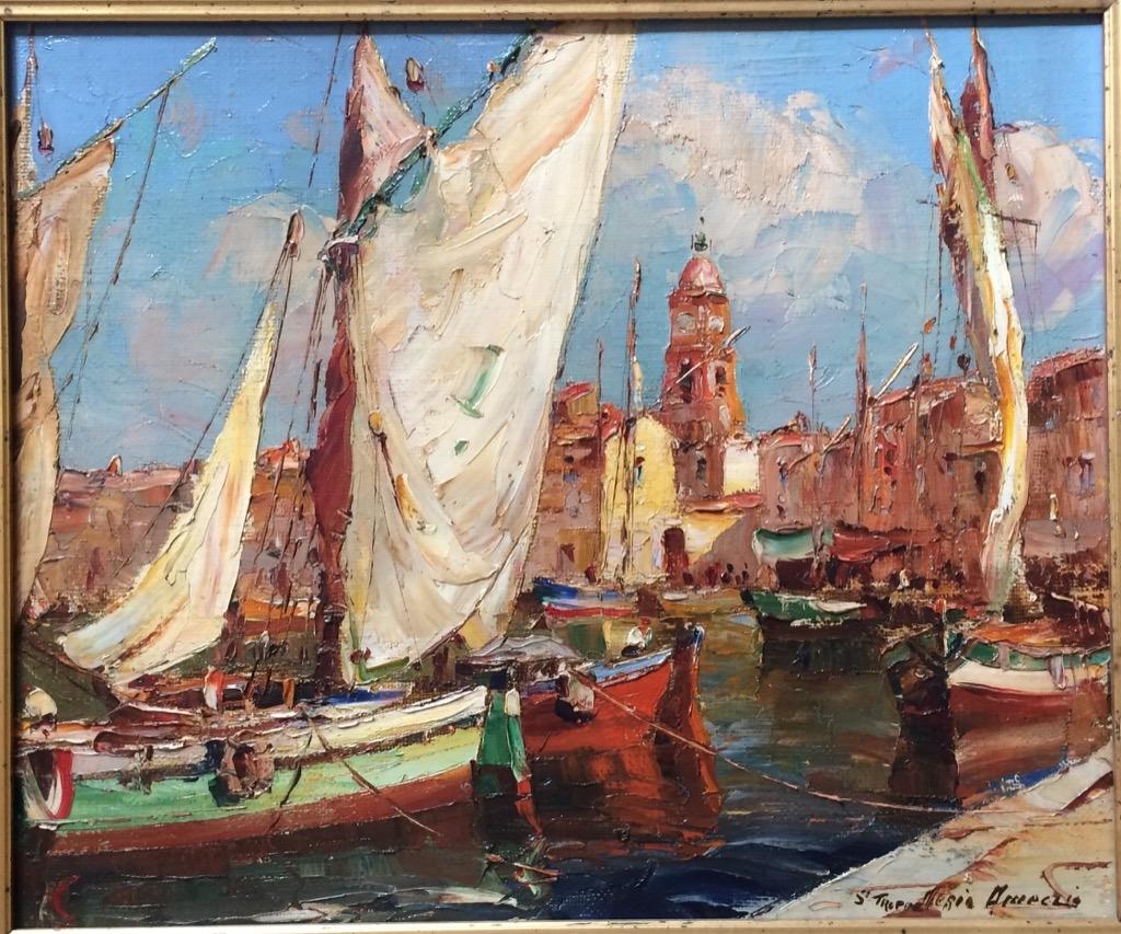 @1024-163 - Merio AMEGLIO. Saint Tropez le port. Huile sur toile signée et située en bas à droite.38x46cm. Adjugé 1000€