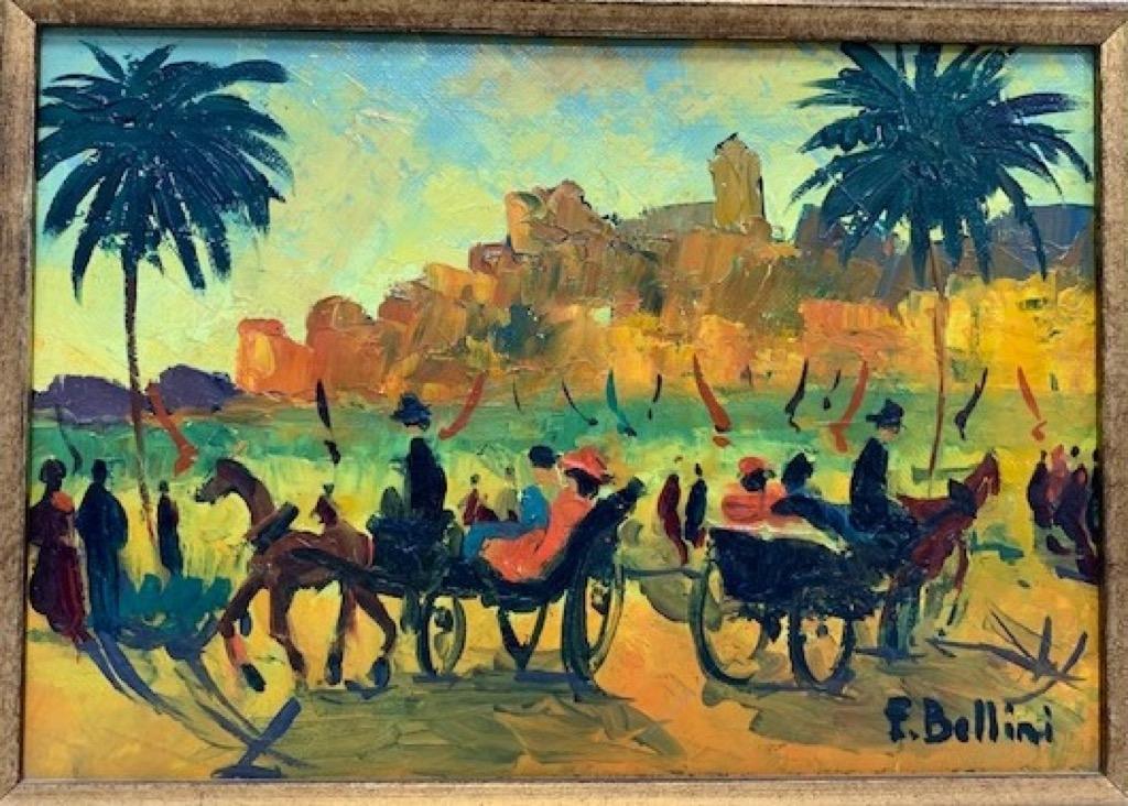 @1024-214 - Emmanuel BELLINI. Cannes à la belle époque. Huile sur toile signée en bas à doite.18x26cm. Adjugé 350€