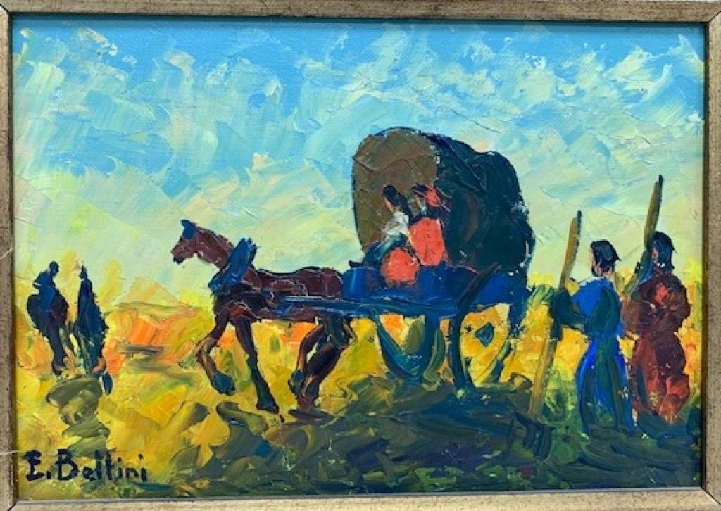 @1024-215 - Emmanuel BELLINI. La carriole. Huile sur toile signée en bas à gauche.17x28cm. Adjugé 250€