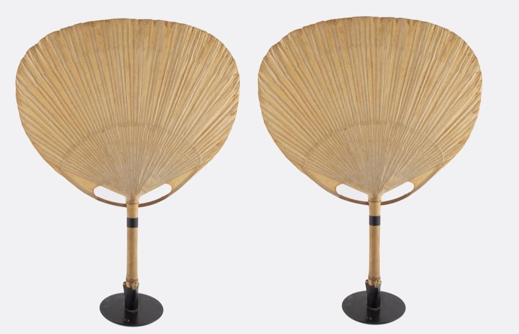 @1024-119 - Ingo MAURER. Deux lampes modèle Uchiwa, 1973 en métal et bambou.H77cm. Adjugé 1300€