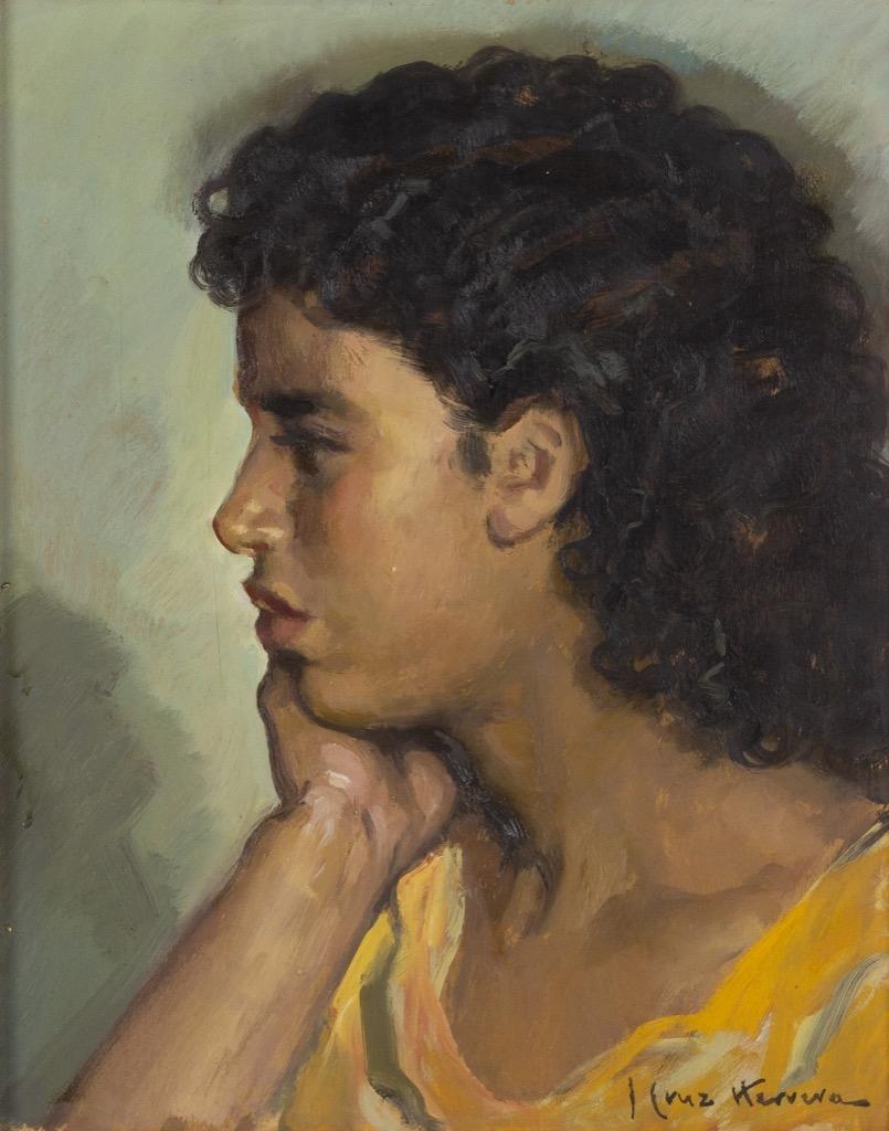 @1024-151 - José CRUZ HERRERA. Portrait de jeune femme de profil. Huile sur carton signée en bas à droite.40x32cm. Adjugé 1100€