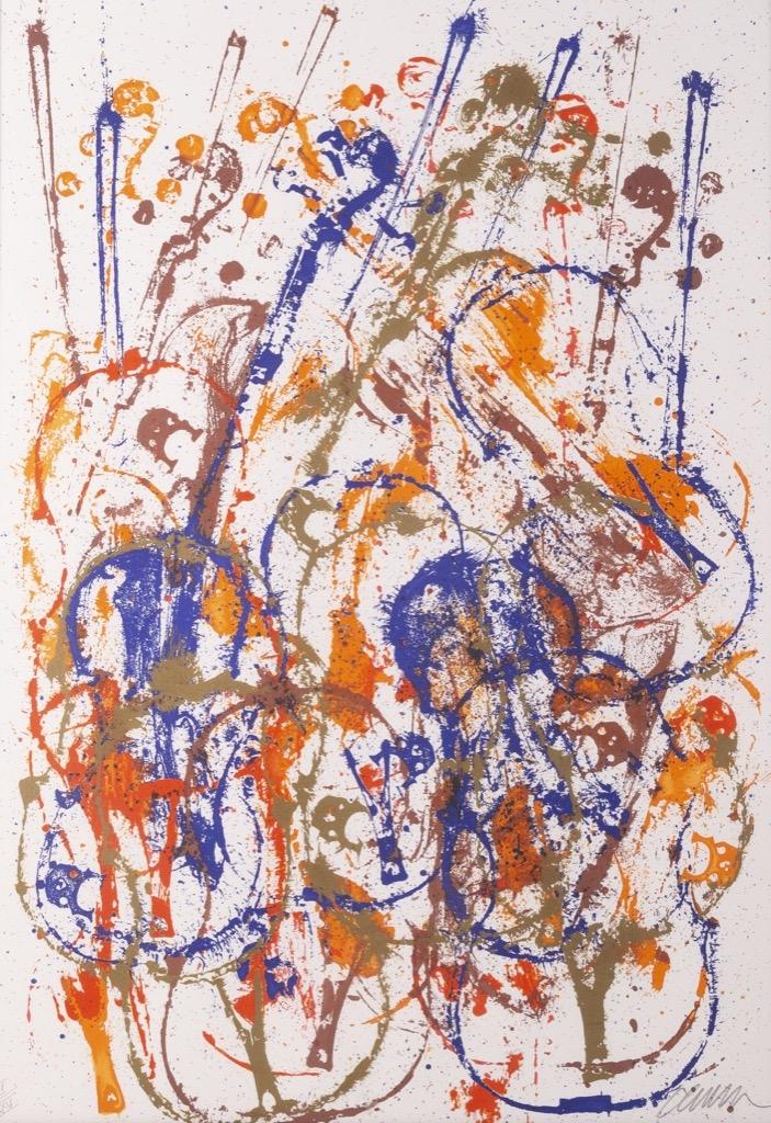 @1024-223 - ARMAN. Colère de violons. Lithographie signée en bas à droite et numérotée IIIXXV en bas à gauche.74x52cm. Adjugé 600€