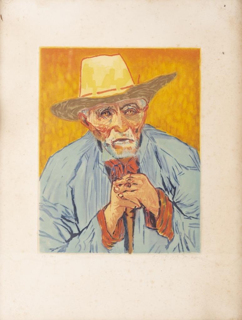 @1024-226 - Jacques VILLON. Van Gogh, le paysan 1927. Gravure originale aquatinte signée numérotée.62,5x48cm. Adjugé 550€