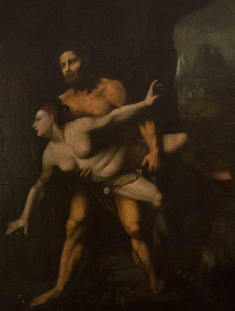 111- Ecole de Prague vers 1600. Enlèvement de Proserpine par Pluton. Huile sur toile. 134x101,5cm. Adjugé 3500€