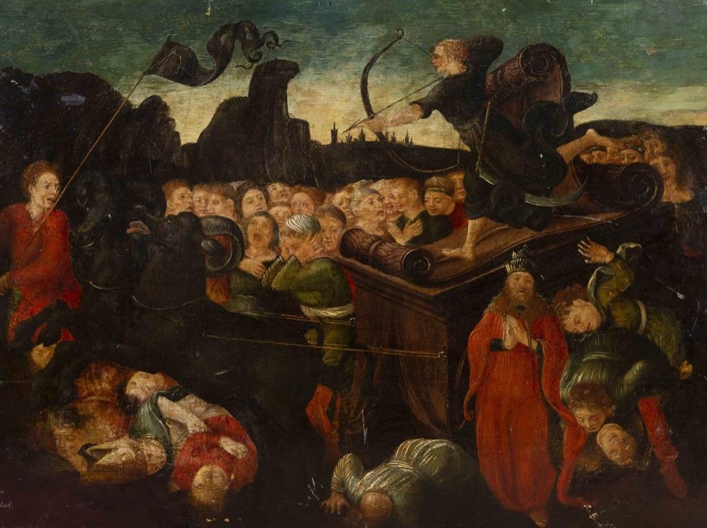 114- Ecole étrangère du XVIIIème. Assemblée de personnages avec archer sur son char. Huile sur panneau parqueté. 43x58cm. Adjugé 600€