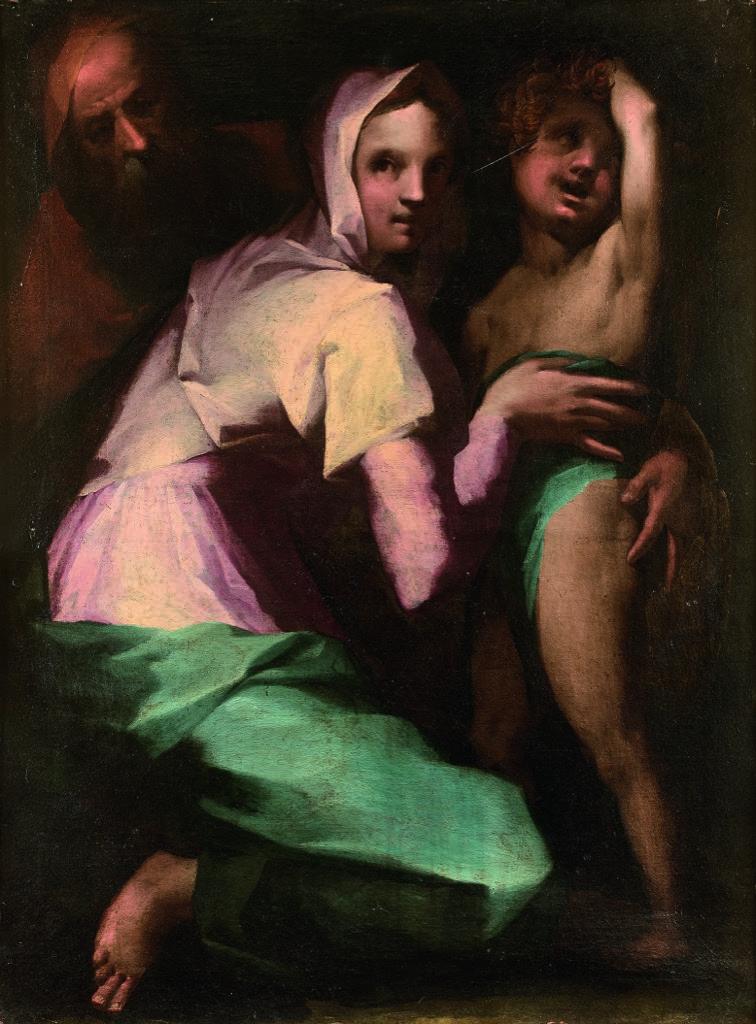 115- Attribué à Francesco Morandini dit Il Poppi. La sainte famille. Huile sur toile. 115x85cm. Adjugé 19000€
