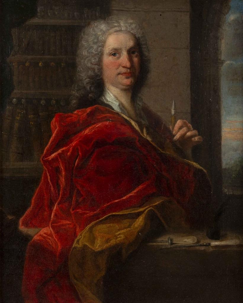 120-1 Ecole française du XVIIIème. Portrait d'homme au drapé rouge. Huile sur toile. 40,5x32,5cm. Adjugé 1200€