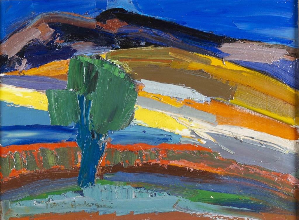 136- Pierre AMBROGIANI. Paysage à l'arbre bleu. Huile sur toile. 54x73cm. Adjugé 3300€
