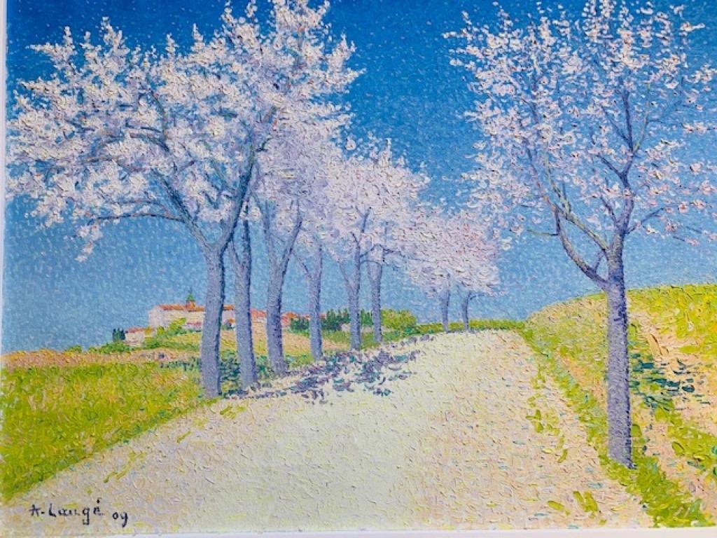 145- Achille LAUGE. Les amandiers en fleurs, route de Cailhau. Huile sur toile. 54x73cm. Adjugé 160000€