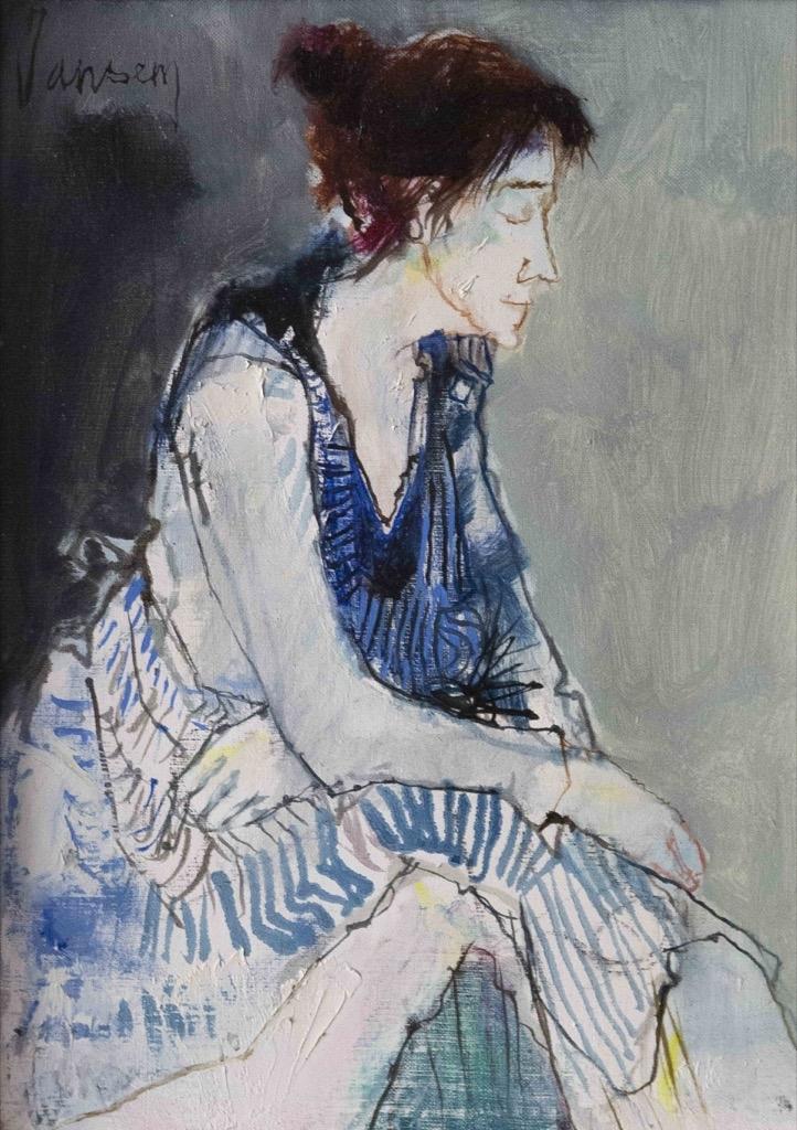 148- Jean JANSEM. La robe bleue. Huile sur toile. 32,5x23,5cm. Adjugé 1550€