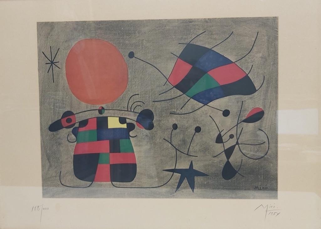 188-1 D'après Joan MIRO. Le sourire aux ailes flamboyantes 1954. Lithographie. Adjugé 1650€