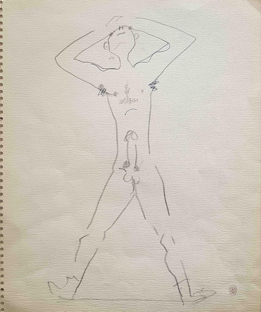 5- Jean COCTEAU. Le penseur nocturne. Dessin au crayon. Adjugé 900€