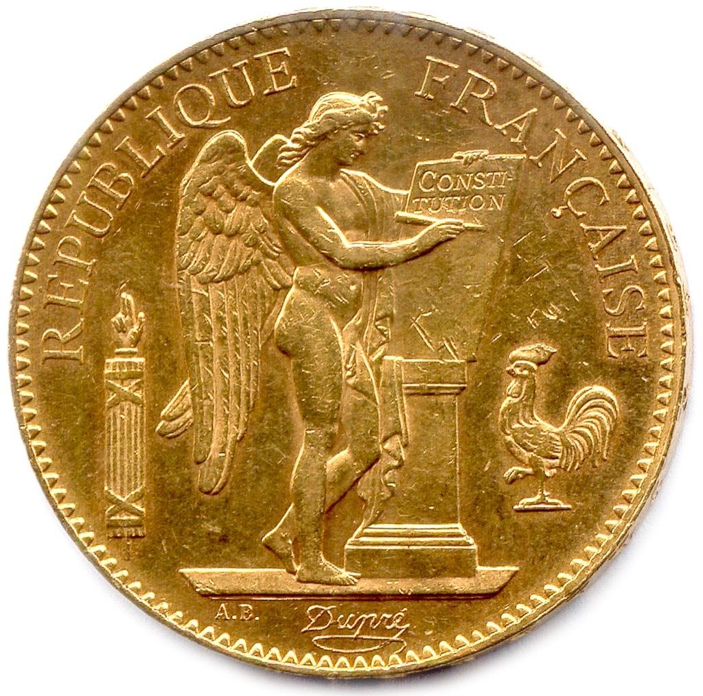 1 (1) IIIème République 1870-1940. 100 Francs or. Poids 32,3g. Adjugé 1300€