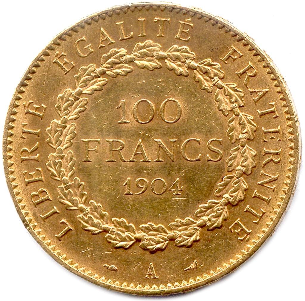 1 (2) IIIème République 1870-1940. 100 Francs or. Poids 32,3g. Adjugé 1300€