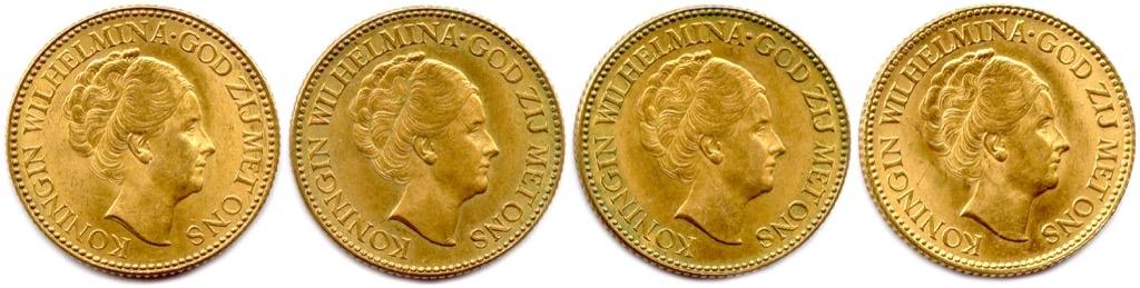 6 (1) Ensemble de quatre pièces or de 10 Gulden 1925. Poids 26,94g. Adjugé 1000€