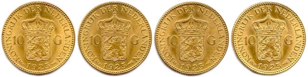 6 (2) Ensemble de quatre pièces or de 10 Gulden 1925. Poids 26,94g. Adjugé 1000€