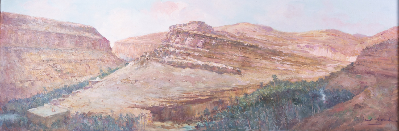 150 - CONSTANT-LOUCHE. Paysage d'Afrique du Nord. Huile sur toile.42x123cm. Adjugé 1.200€