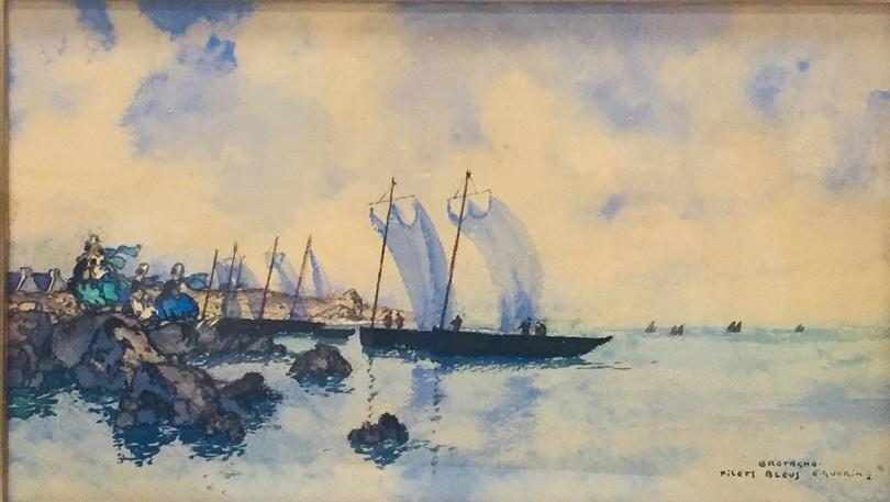 152 - Ernest Pierre GUERIN. Filets bleus, Bretagne. Aquarelle sur papier.14x23cm. Adjugé 2.500€