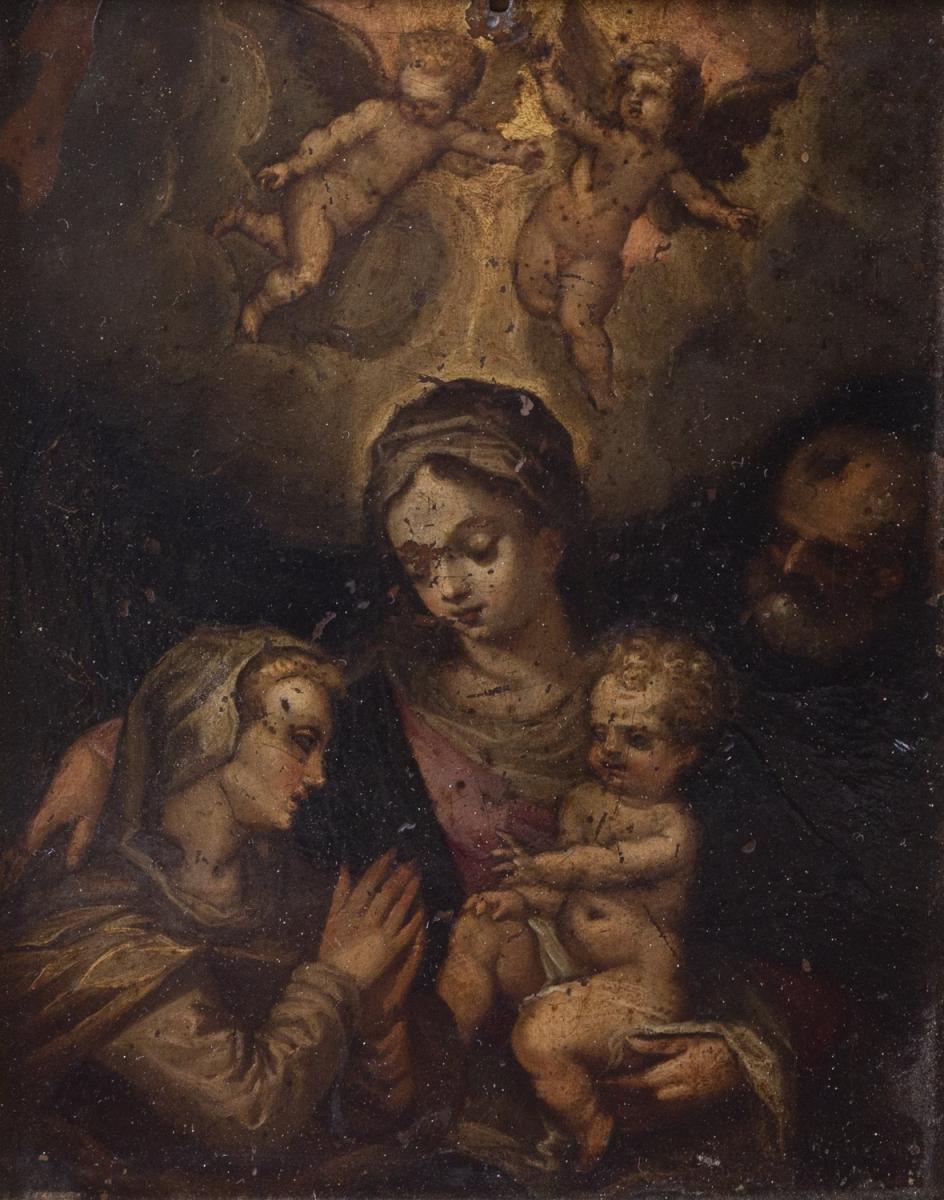 15- Ecole italienne XVII°. La Ste famille avec Ste Anne. Huile sur cuivre. Adjugé 580€
