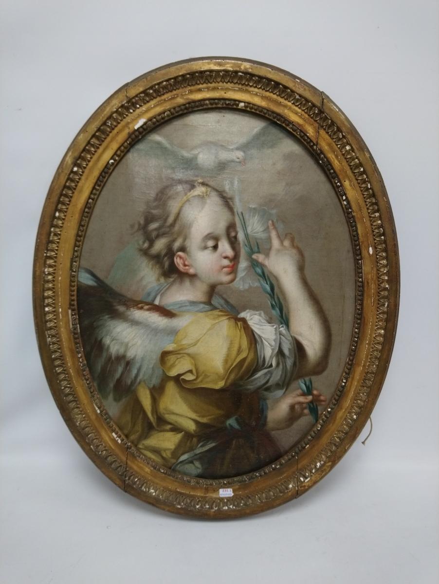 231-1- Ecole bolonaise XVIII°. L'ange de l'annonciation. Huile sur toile ovale. Adjugé 600€
