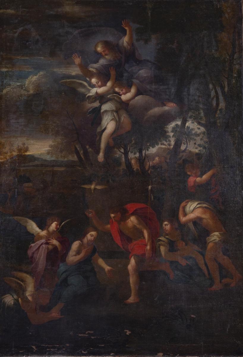 231- Ecole italienne dans le goût de Cortone. Jsus lavant les pieds de ses disciples. Huile sur toile. Adjugé 1450€