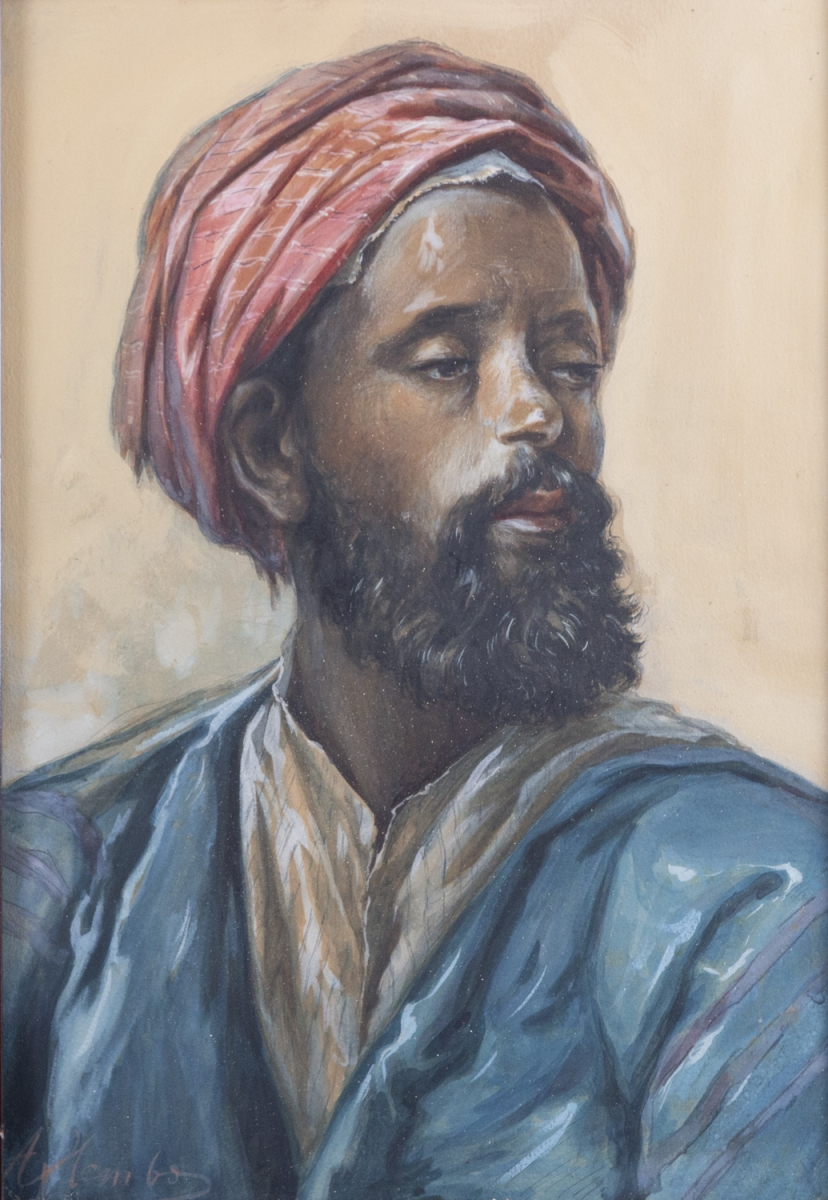 241- Ecole orientaliste. Portrait d'un maure. Gouache sur papier. Adjugé 220€
