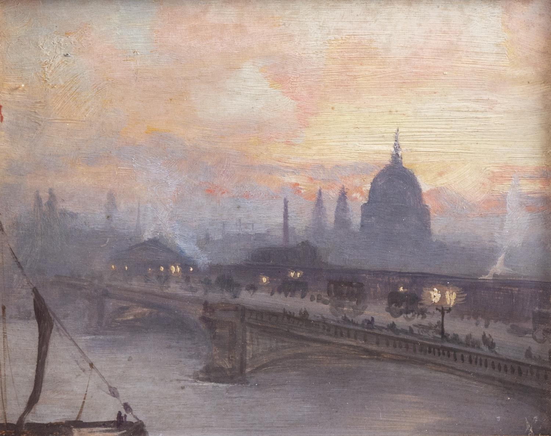 27- George HYDE-POWNALL. Blackfriars bridge, early morning. Huile sur carton. Adjugé 500€