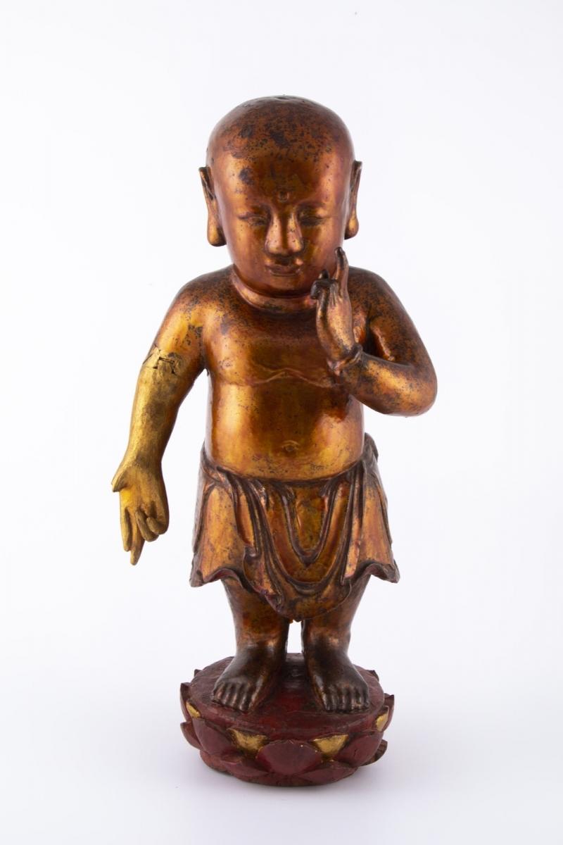 37-1- Chine XIXème siècle. Bouddha en bois laqué. Adjugé 610€ 2