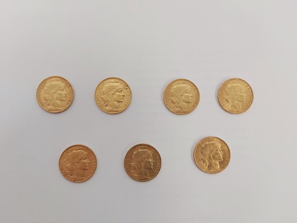 4-1 Lot de 7 pièces de 20 Francs or. Poids total 45,2g. Adjugé 1900€ (2) 2