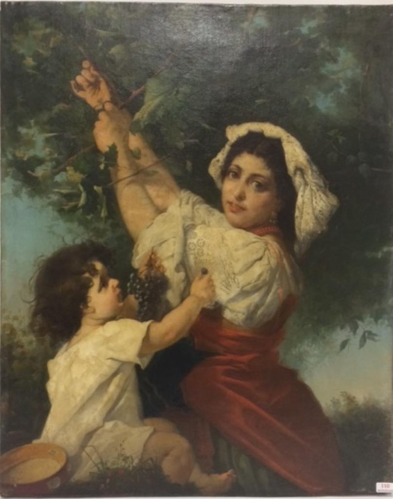 110- Ecole Française vers 1870. La ceuillette des cerises. Porte une signature W.Bougereau. 62x50cm. Adjugé 3000€