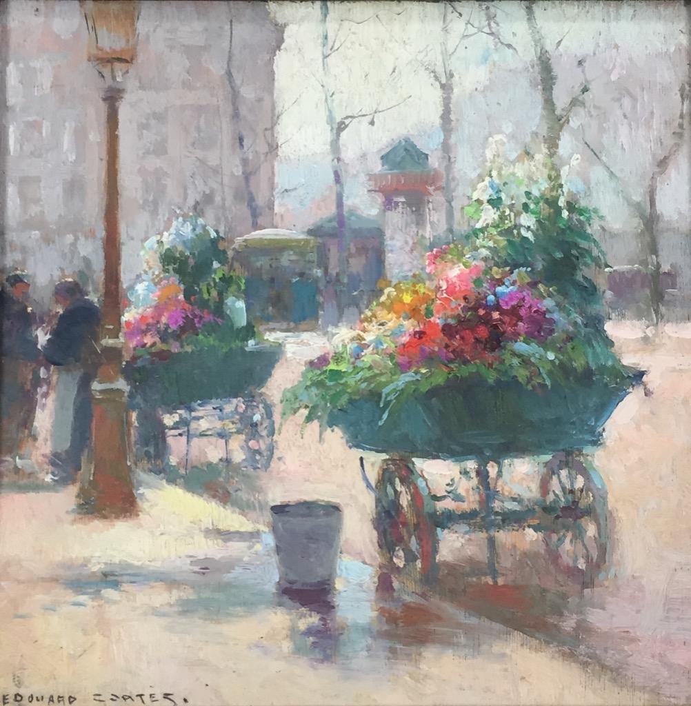 120- Edouard CORTES. Voiture de fleurs. Huile sur panneau sgnée en bas à gauche. Contresigné et titré au revers. 25x25cm. Adjugé 4500€