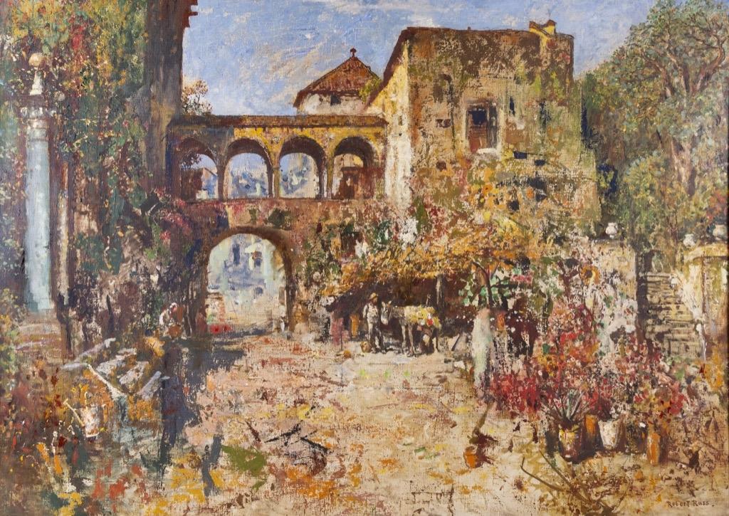 130- Robert RUSS. Cour de château en italie, cicrca 1919. Huile sur toile signée en bas à droite au dos du chassis. Adjugé 15000€