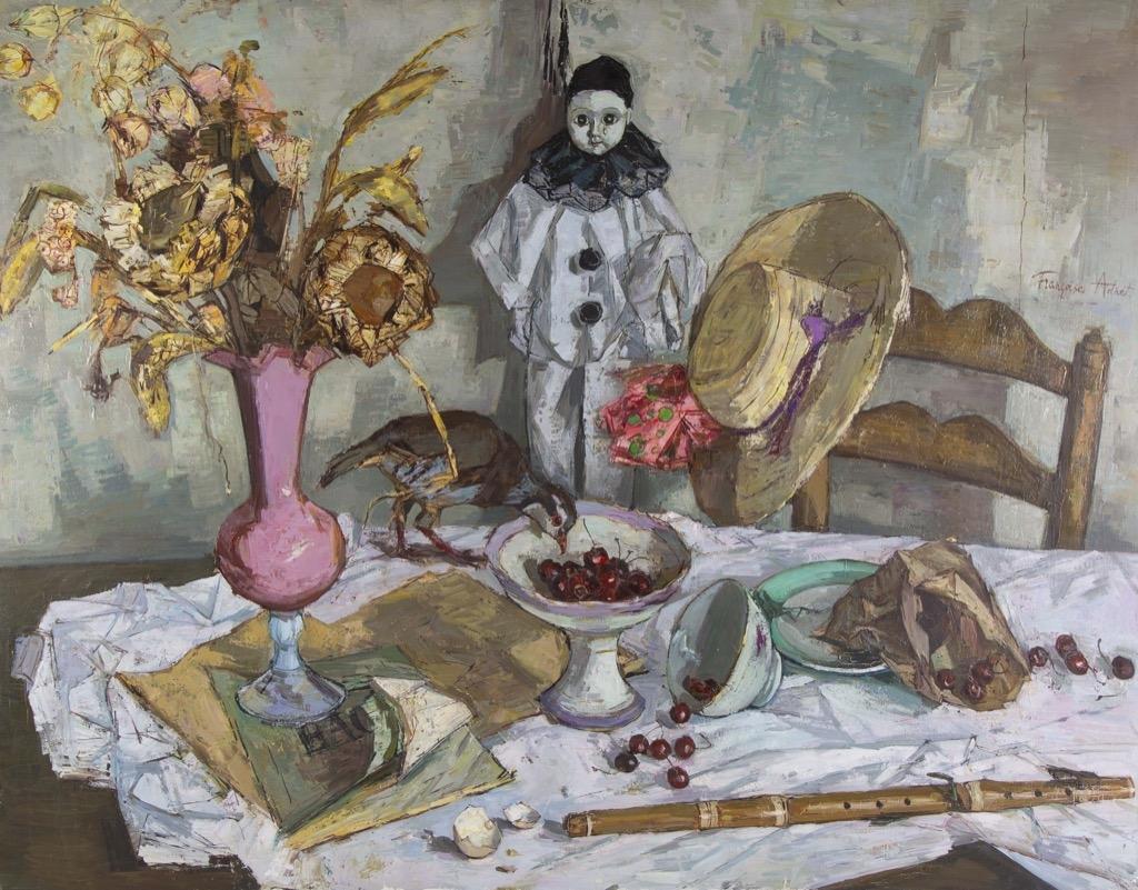 131- Françoise ADNET. Mon ami Pierrot. Huile sur toile signée au milieu à droite, titrée au dos. 114x146cm.